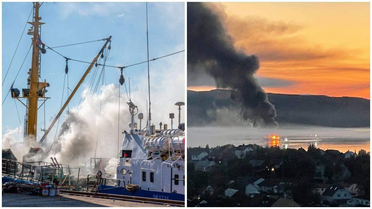 В Норвегии загорелся российский траулер: произошел взрыв