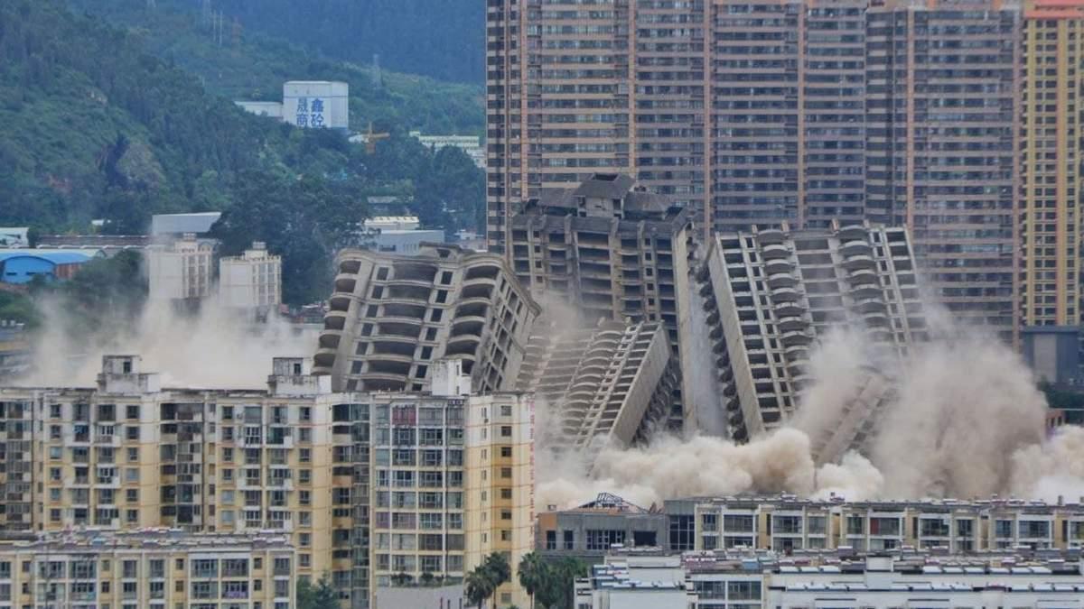 В Китае взорвали 15 недостроенных высоток: зрелищное видео