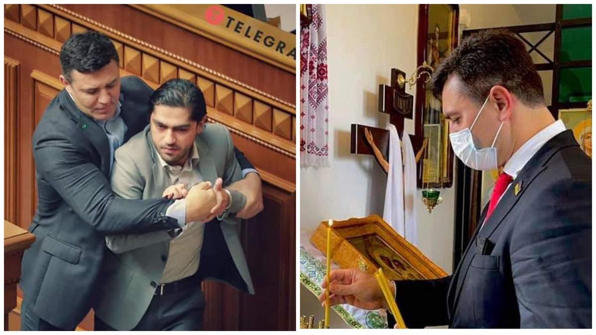 Тищенко после нападения на Лероса пошел в церковь помолиться за его здоровье: фотофакт