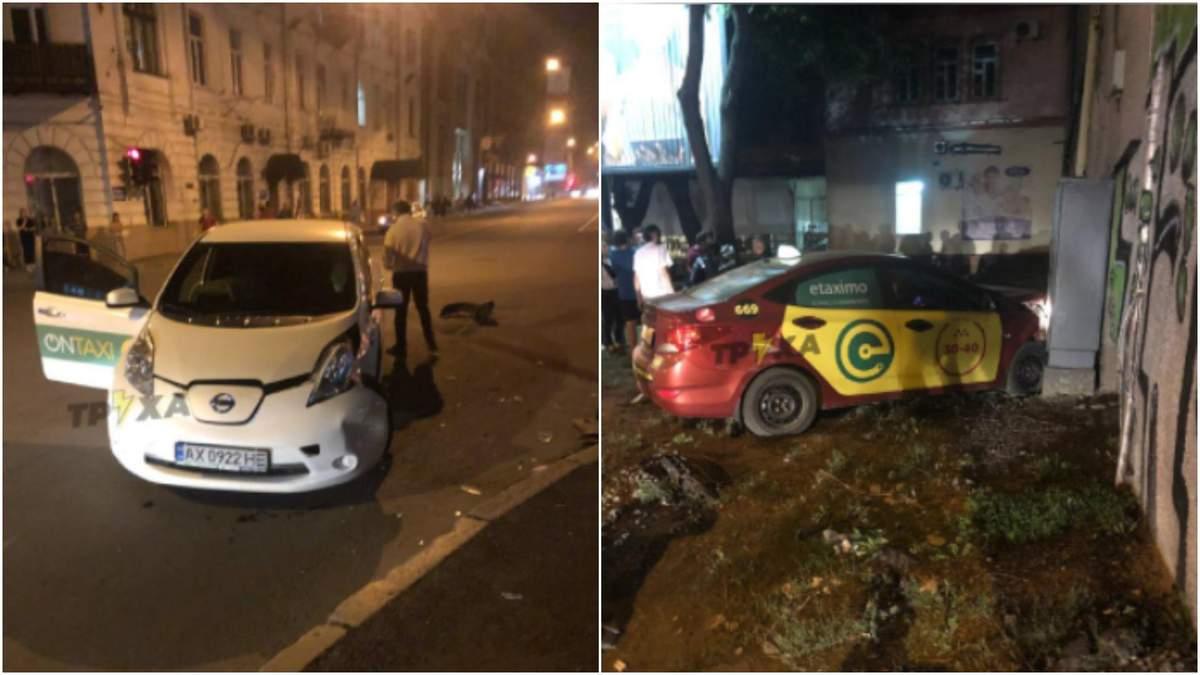 В Харькове столкнулись водители такси, авто врезалось в дом: видео с места ДТП