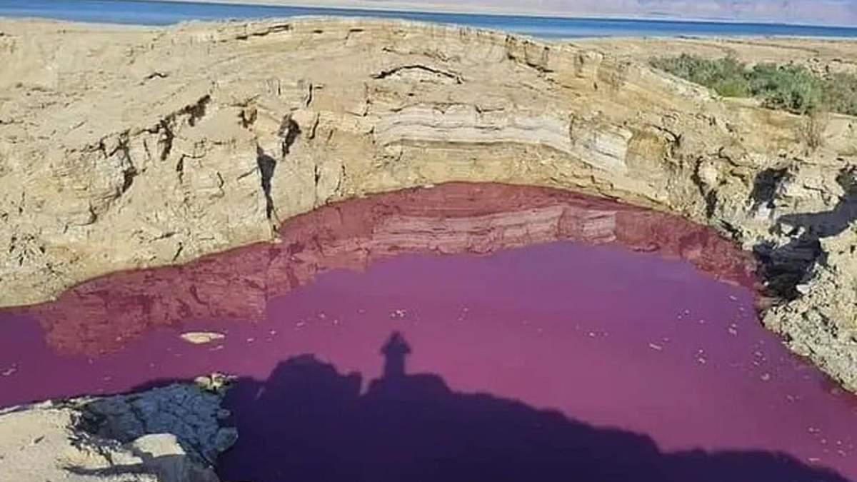 Озеро в Иордании внезапно окрасилось в кроваво-красный цвет: жуткие фото