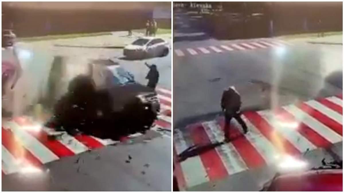 У ДТП на Чернігівщині чоловік дивом врятувався, авто пролетіло перед ним: вражаюче відео - Новини Чернігова - 24 Канал