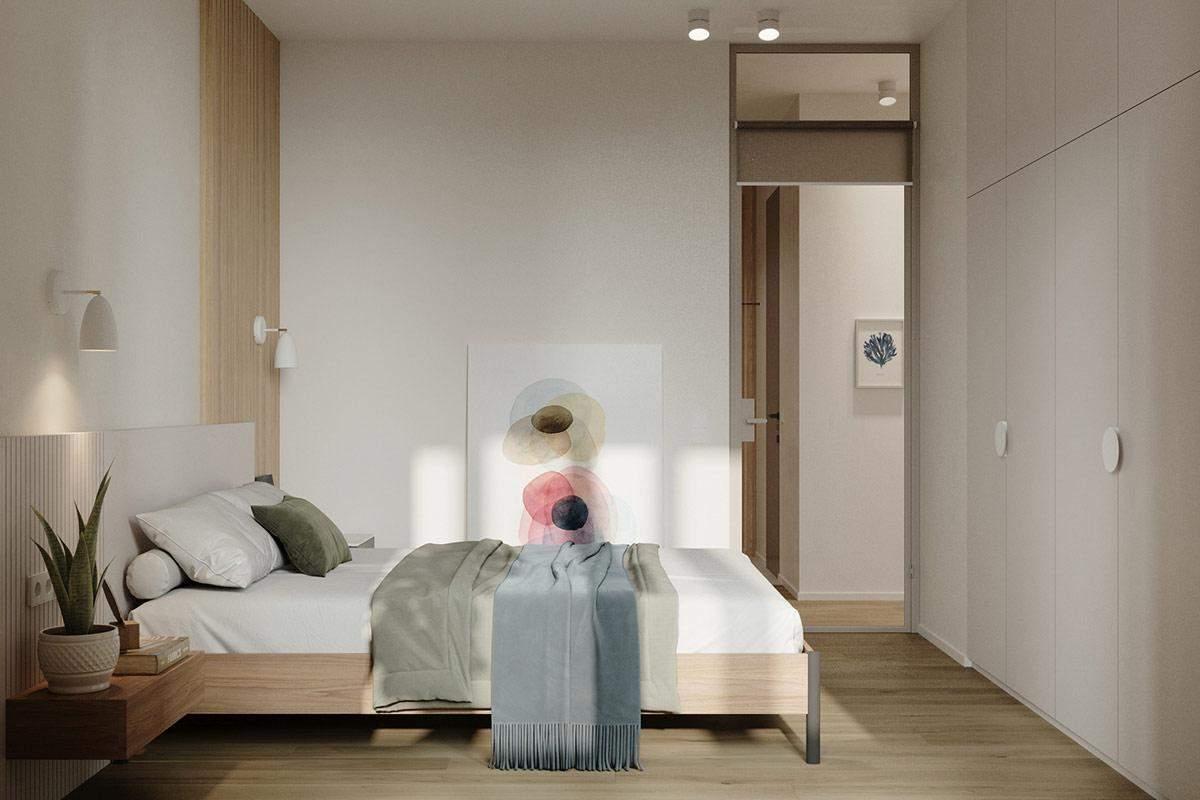 Минималистичная спальня в нежных тонах / Фото Home Designing