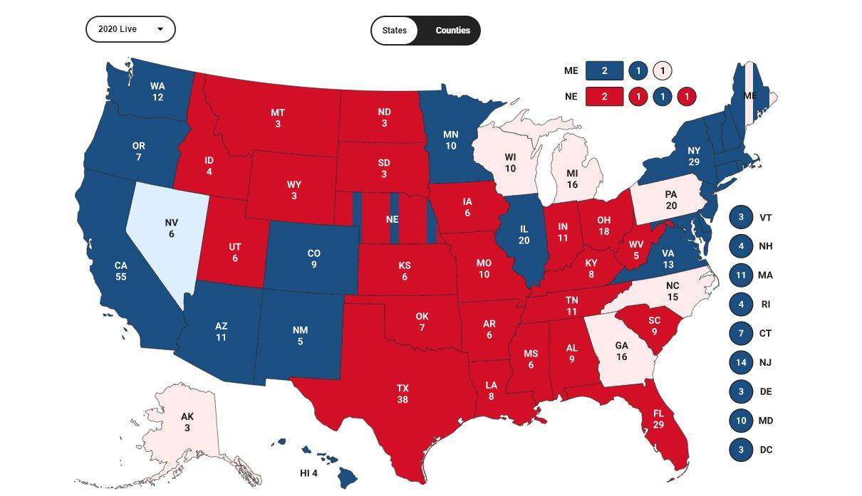 Результати виборів США у більшості штатів