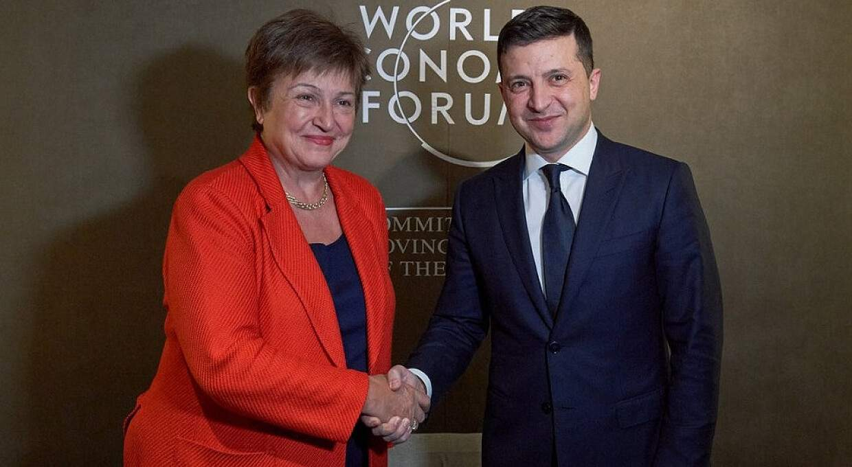 Директор-розпорядник МВФ Крісталіна Георгієва і президент Володимир Зеленський