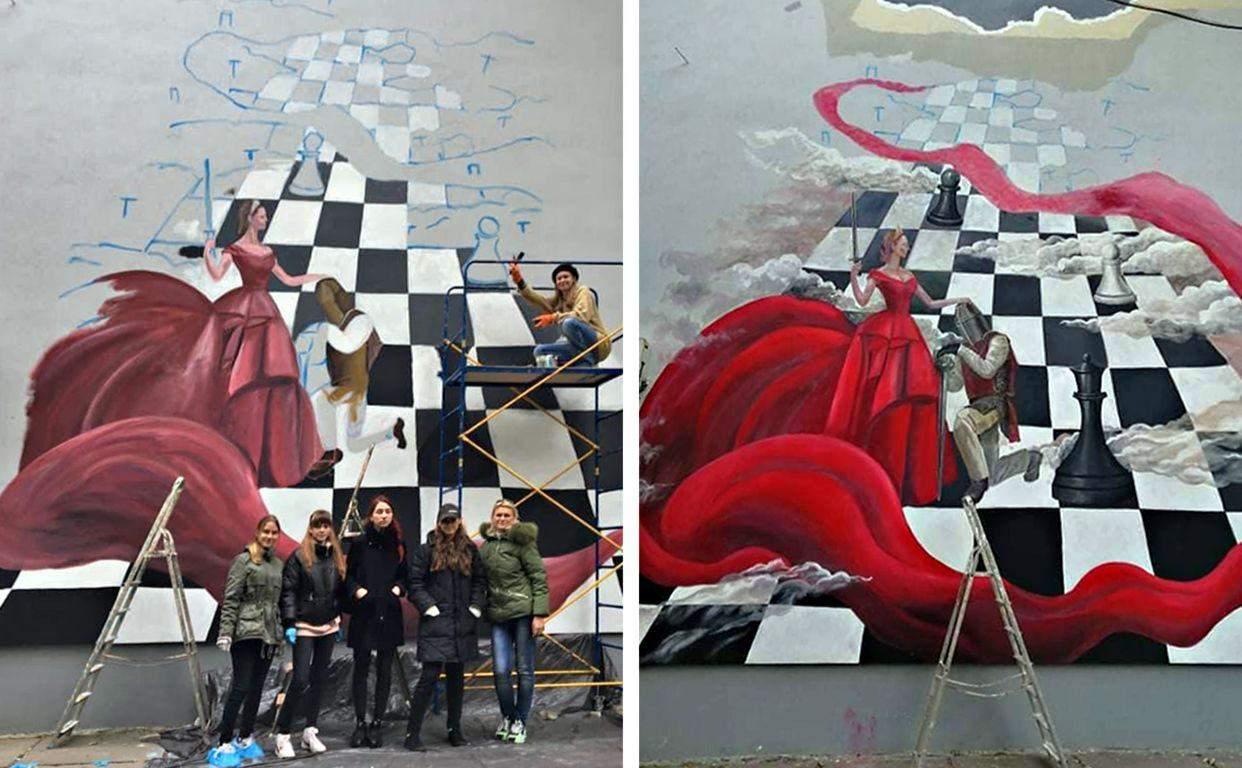 Євгенія Фулен, мурал проти домашнього насильства, у Києві гамалювали шахову королеву