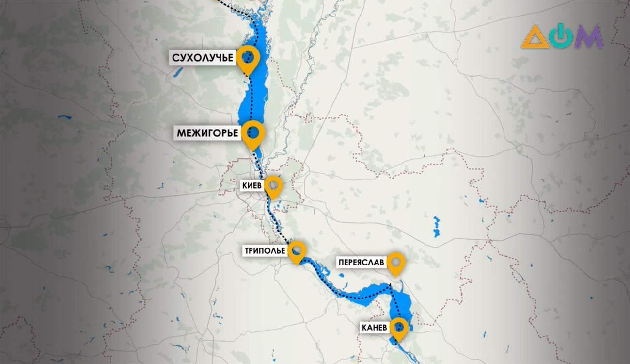 як виглядами маршрут Київщиною по Дніпру