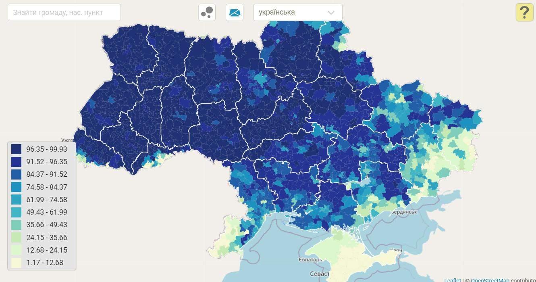 Карта України щодо рідних мов