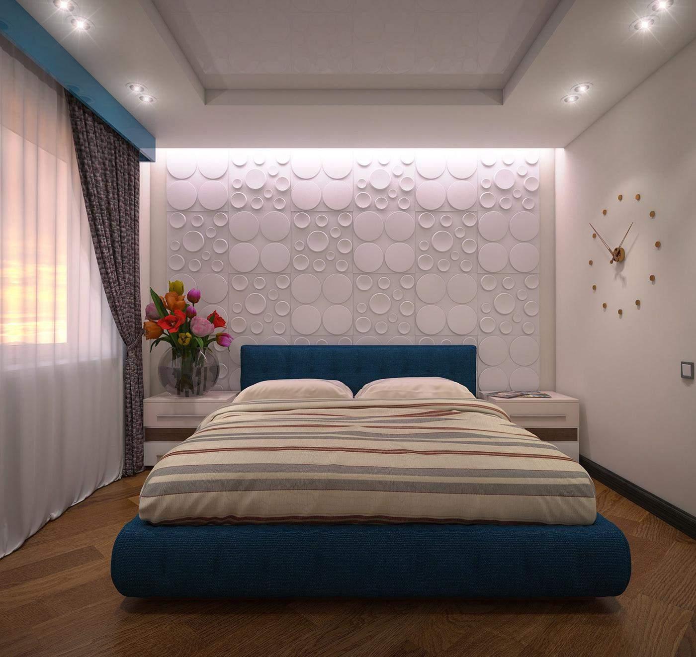Сині деталі в маленькій спальні