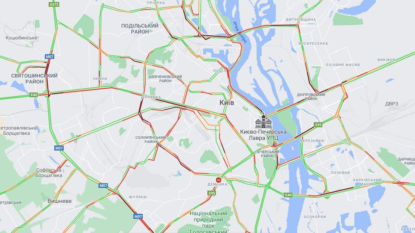 онлайн карата затори в Києві 8 червня