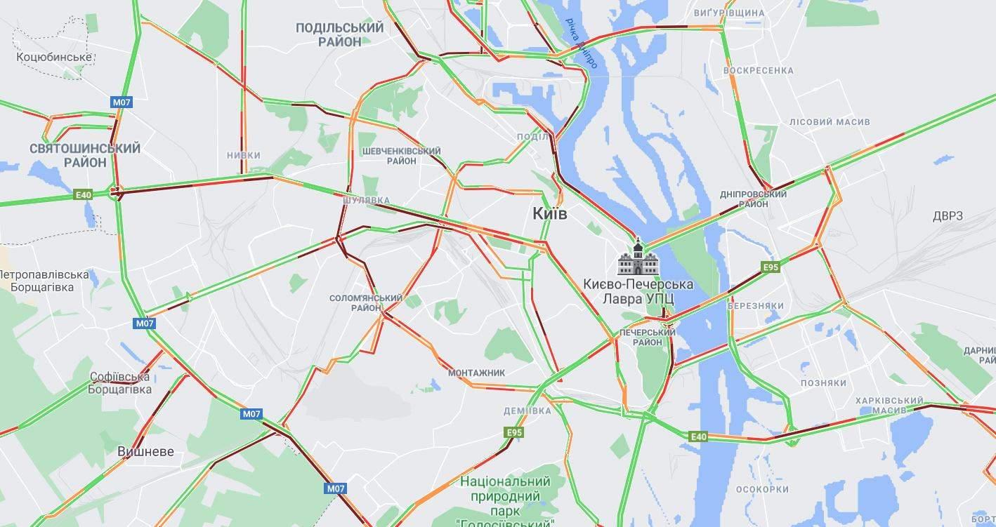 онлайн карта затори 26 травня Київ