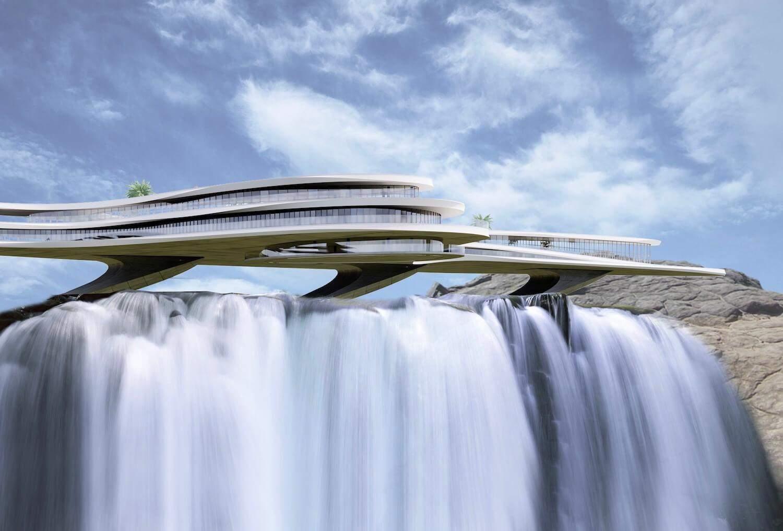 Розкішний готель над водоспадом