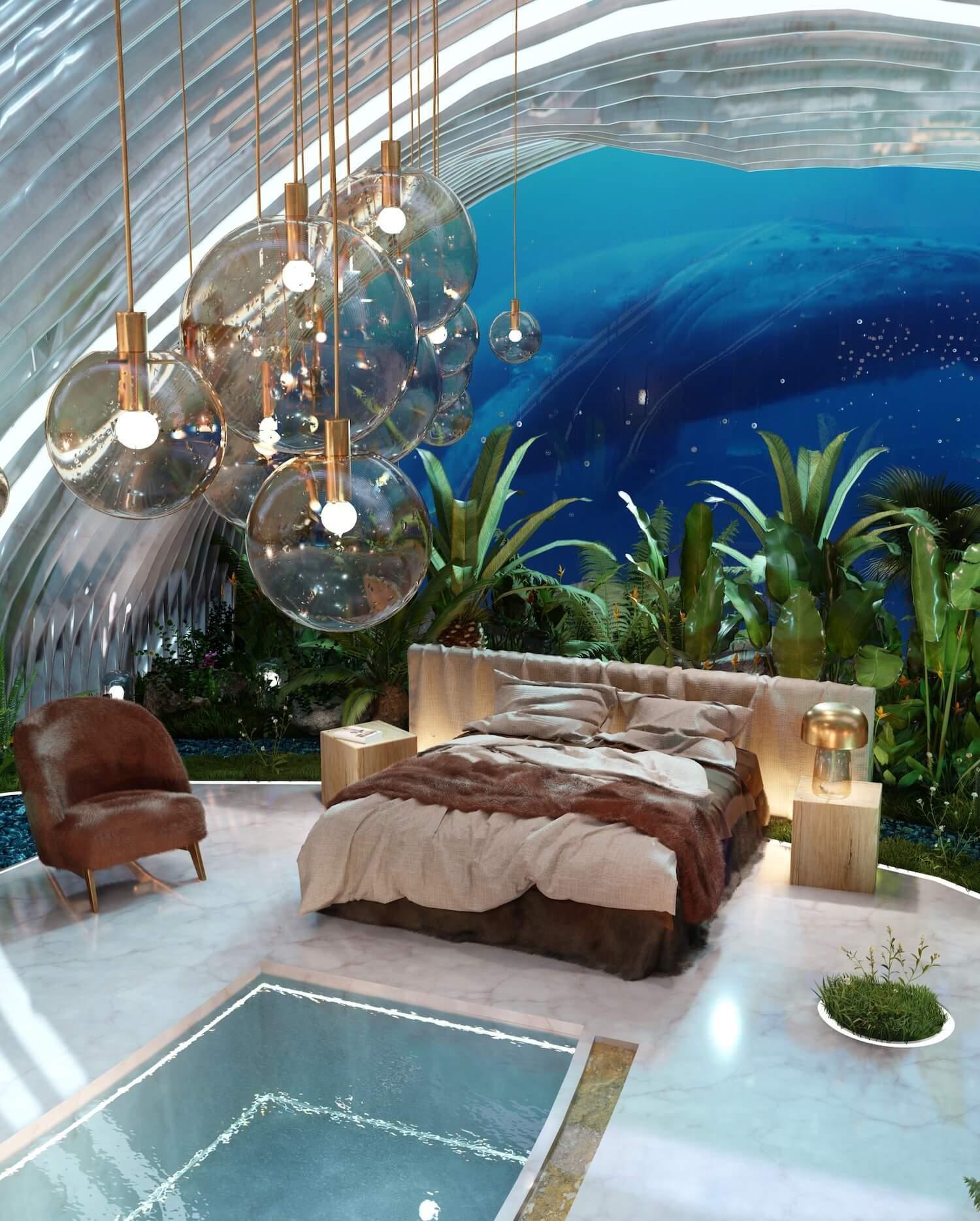 Всередині мушлі: концепт футуристичної спальні