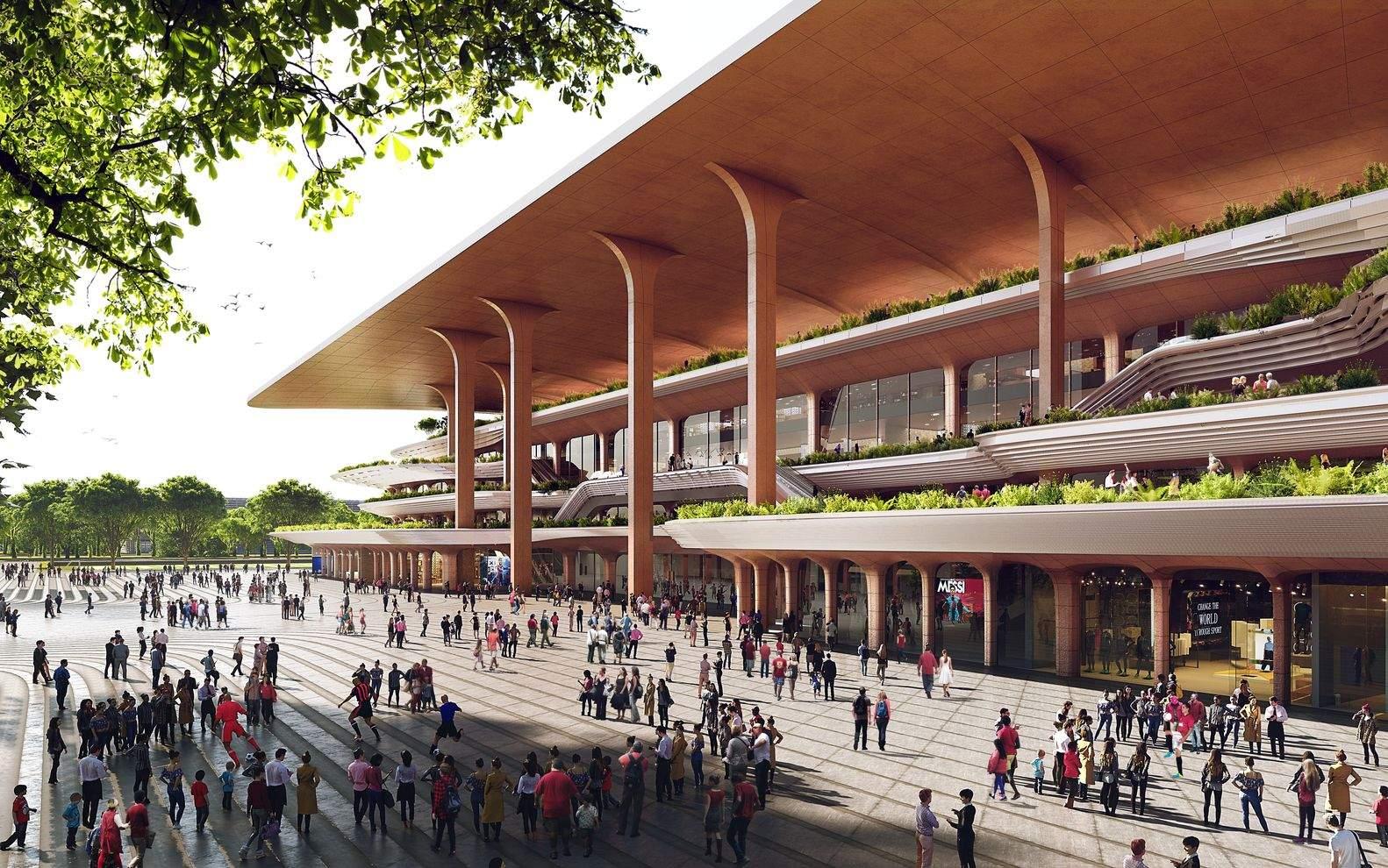 На території стадіону буде чимало громадських просторів / Фото Archdaily
