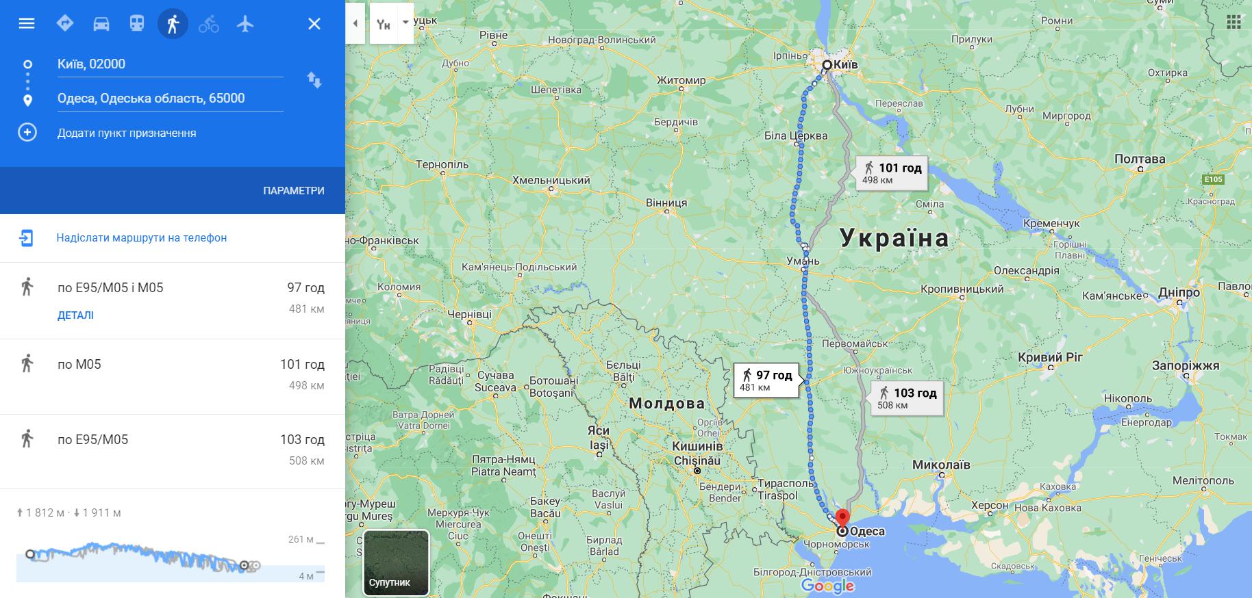 Маршрту з Києва до Одеси