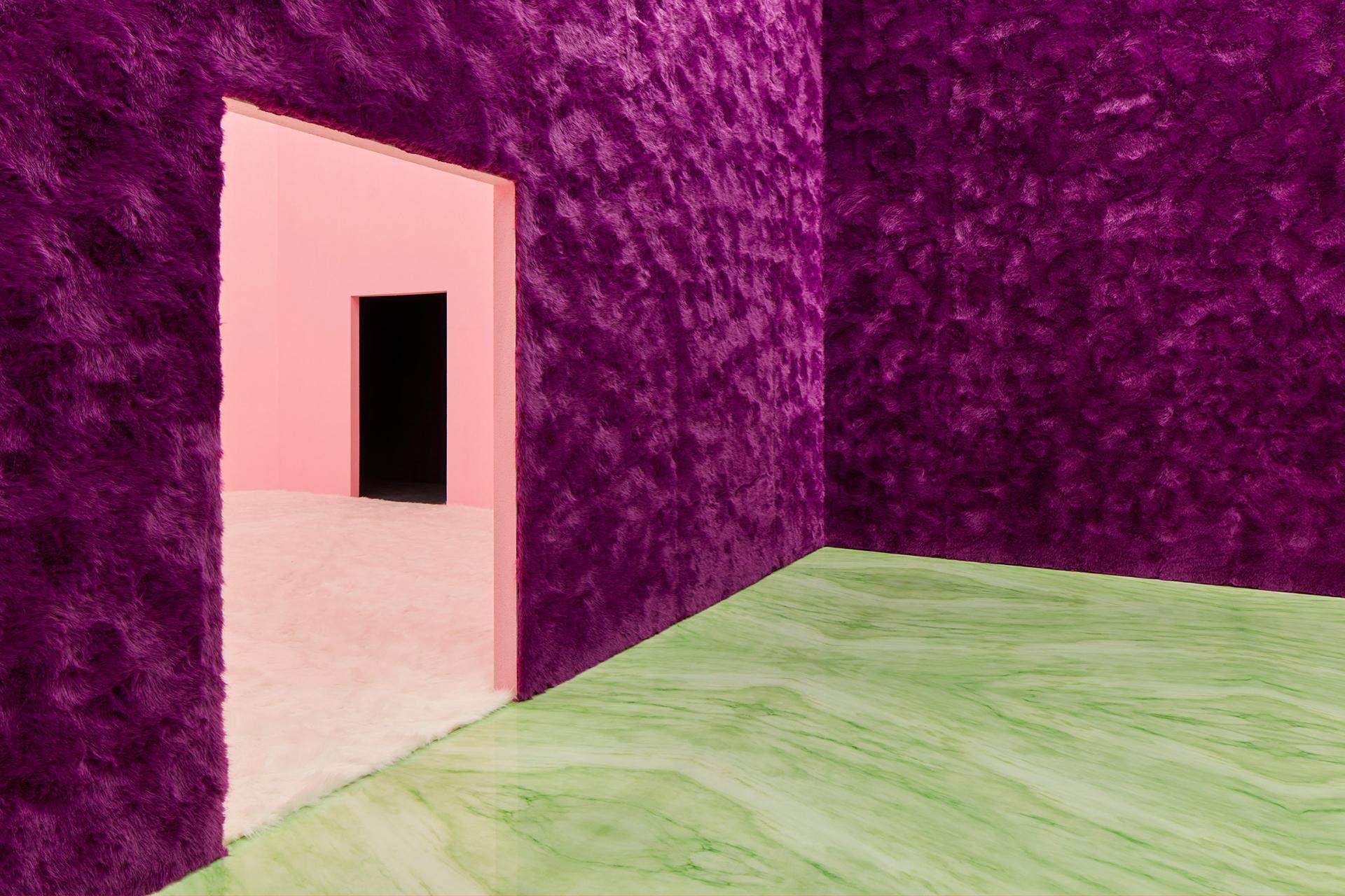 Комната с темно-розовым мехом