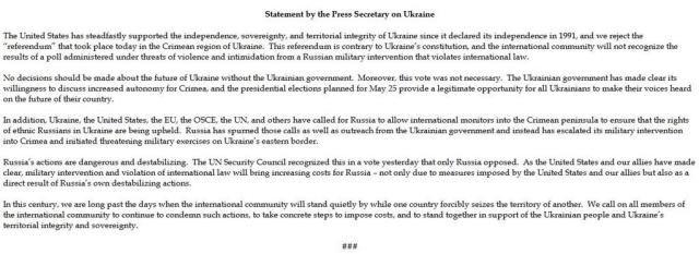 США не признали референдум в Крыму