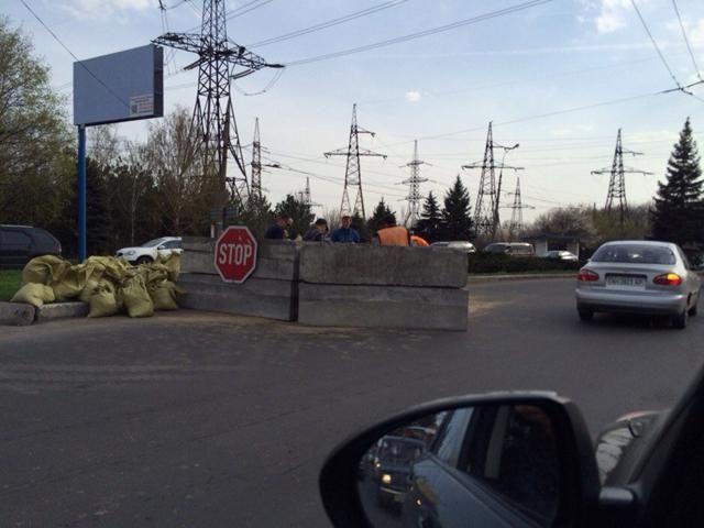 Между Макеевкой и Донецком устанавливают блокпост [Фото]