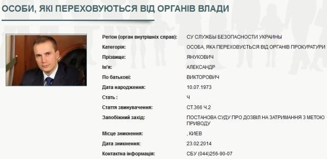 СБУ разыскивает Януковича-младшего [Фото]