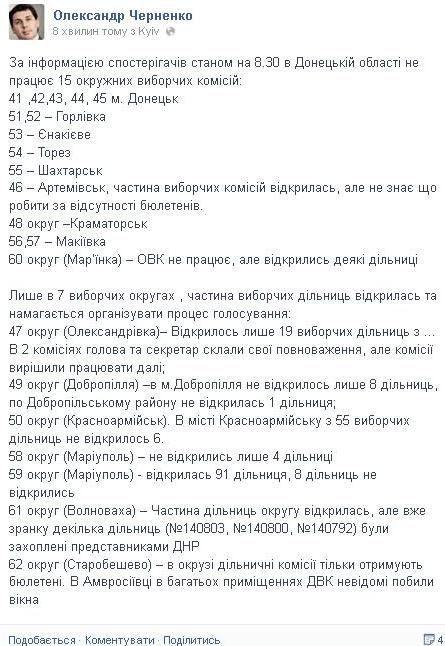 В Донецкой области открыли 13% участков, 15 ОИК не работают
