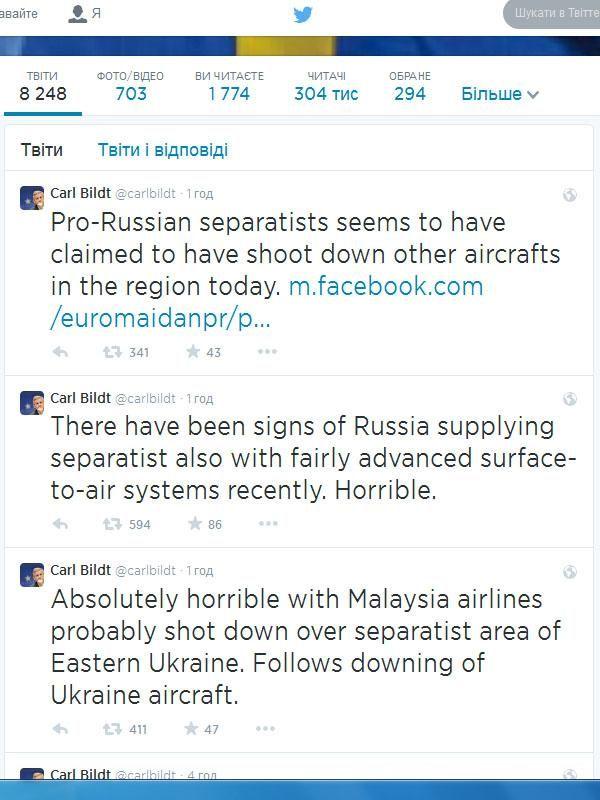Бильдт предполагает, что малайзийский самолет могли сбить боевики