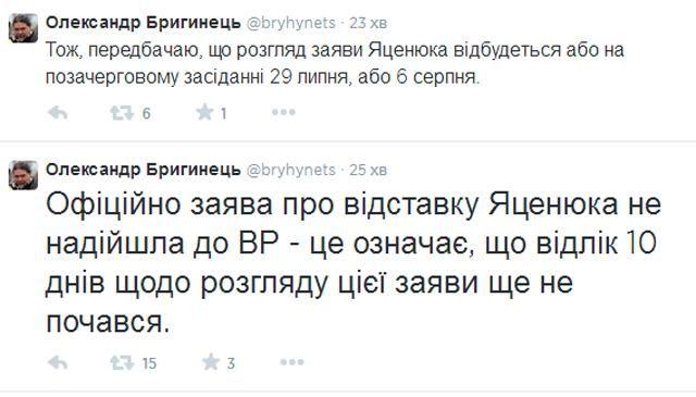 Рада рассмотрит отставку Яценюка 29 июля или 6 августа, - Бригинец