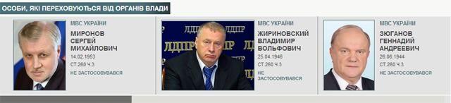 Украинское МВД объявило в розыск Жириновского, Зюганова и Миронова [Скриншот]