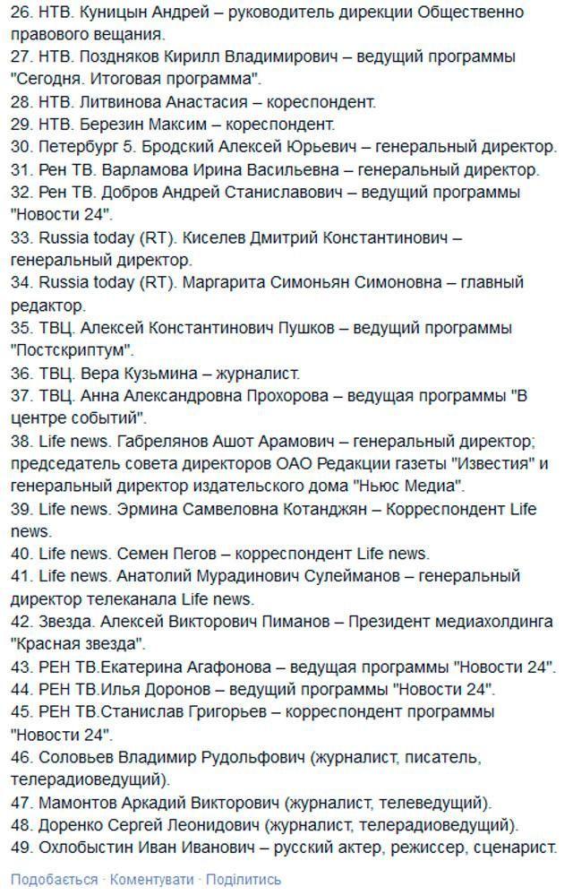 Нацсовет передал СБУ список российских журналистов, которым нужно запретить въезд в Украину