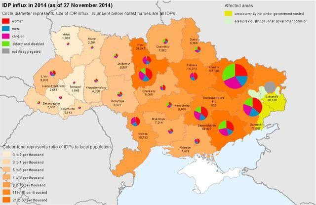 Больше миллиона человек бежали из оккупированного Донбасса [Карта]