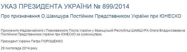 Порошенко назначил Шамшура постпредом Украины при ЮНЕСКО [Документ]