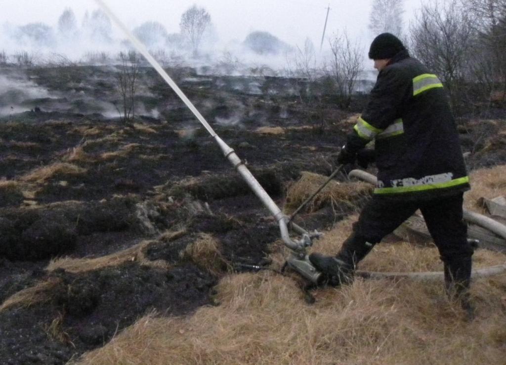 В Черниговской области уже вторые сутки борются с пожаром на торфяных полях [Фото]