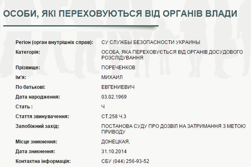 СБУ объявила в розыск Пореченкова