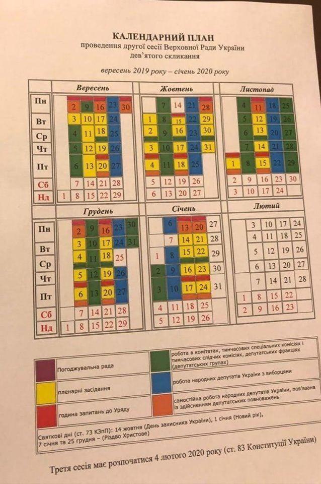 календарний план ВРУ