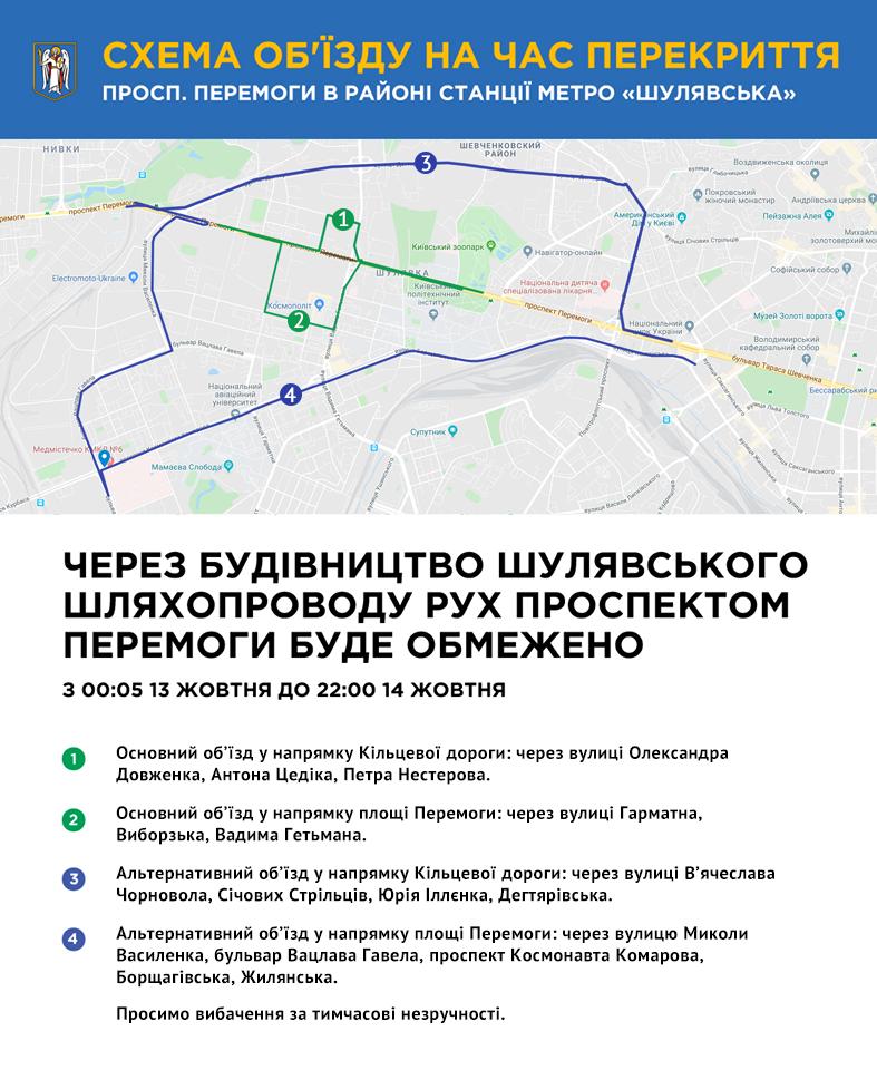 схема об'їзду проспекту перемоги в Києві перекриття руху