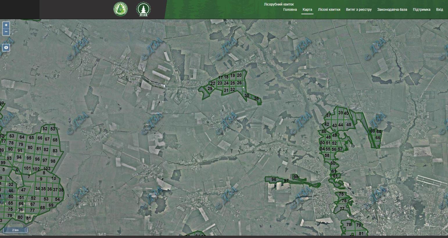 карта рубок лісу Україна