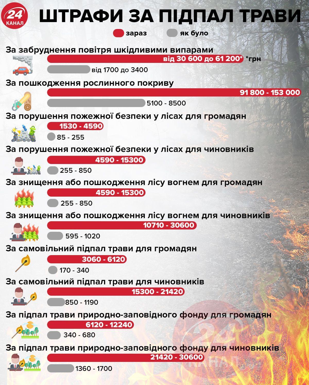 Штрафи за підпал трави в Україні