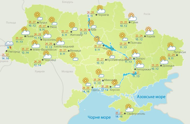 Прогноз погоди в Україні 16 серпня
