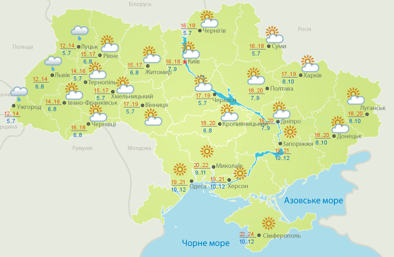 прогноз погоди на 15 жовтня