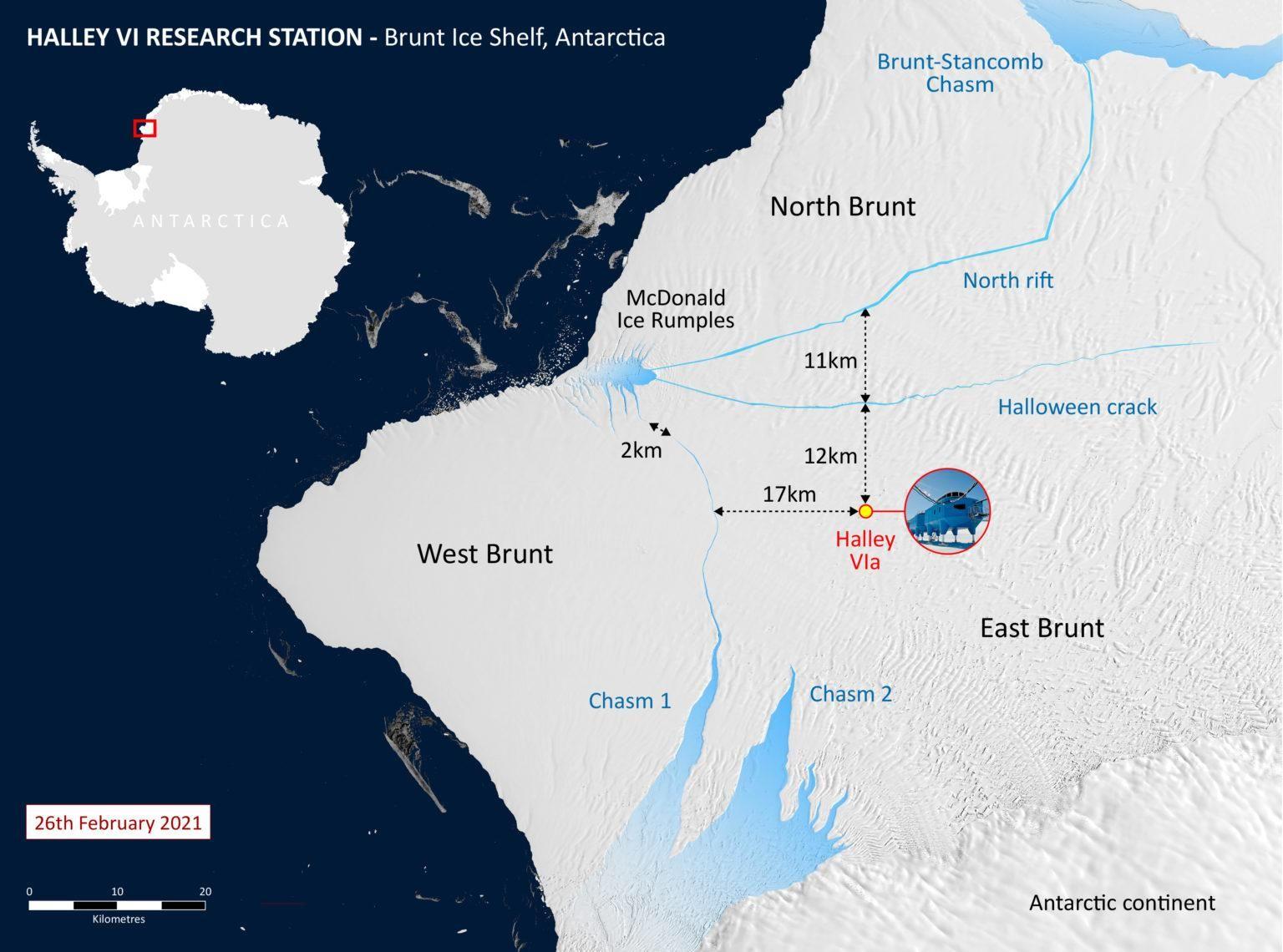 Розлам стався трохи більше ніж за 20 кілометрів від британської дослідницької станції Галлей