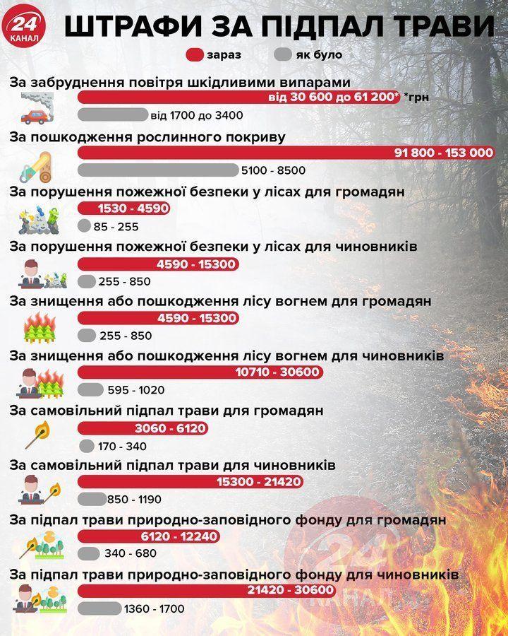 Штрафи за спалювання сухостою
