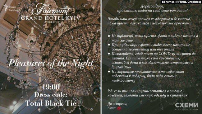 Запрошення на день народження дружини Тищенка