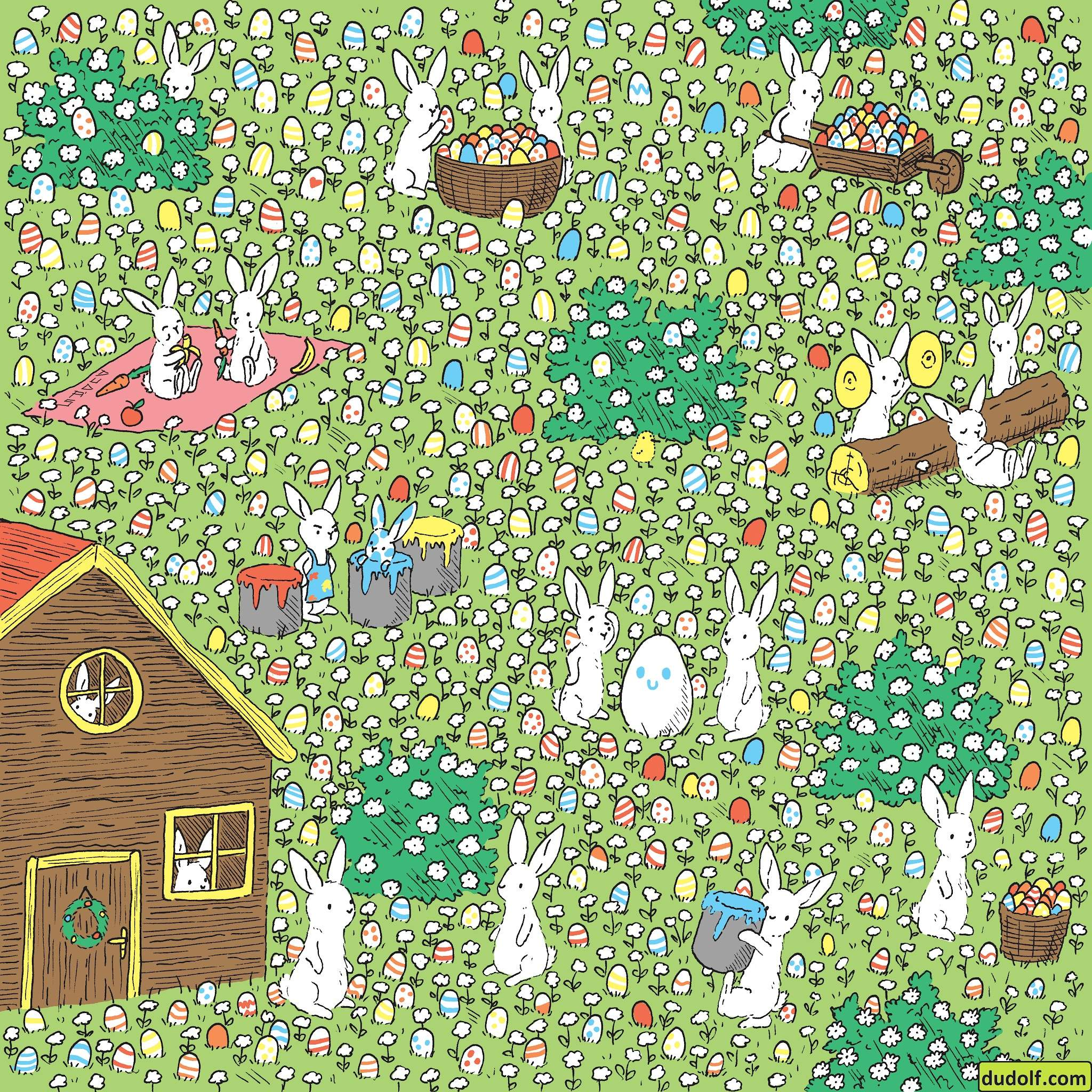 Головоломка тижня: готуємось до Великодня – допоможіть зайцям знайти не розфарбоване яйце