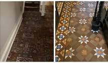 Під жахливим килимом пара знайшла дорогу плитку 19 століття: це справжній шедевр