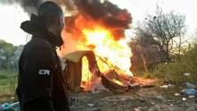 В Киеве националисты сожгли лагерь ромов на Лысой горе