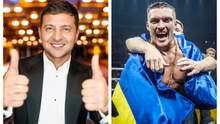 Зеленский поздравил Усика с победой и высказался о звании Героя Украины: видео