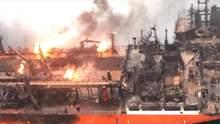 Пожежа на кораблях біля Керченської протоки: поранених моряків доставили до окупованого Криму