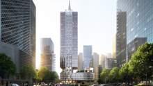 Тонкий шпиль посеред дахової тераси: проєкт сучасного офісу з Китаю – фото