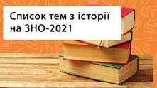 ЗНО з історії України у 2021 році: перелік тем, за якими треба підготуватися