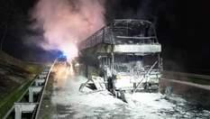 У Польщі вщент згорів автобус: у ньому їхали українці