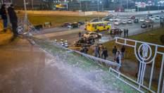 Позашляховик вилетів з мосту у Києві та впав на дорогу: машина може вибухнути